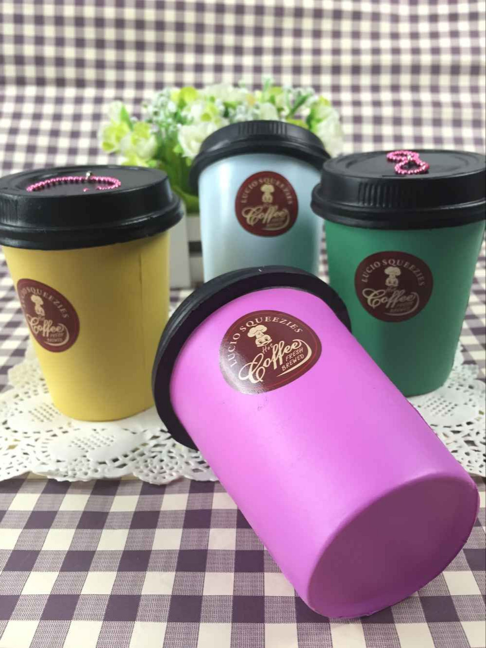 Lucio squishys 20pcs/Lot original package rare Coffee Cup squishy Toys Wholesale Cute Jumbo Squishies phone Charm Kawaii Toy 310