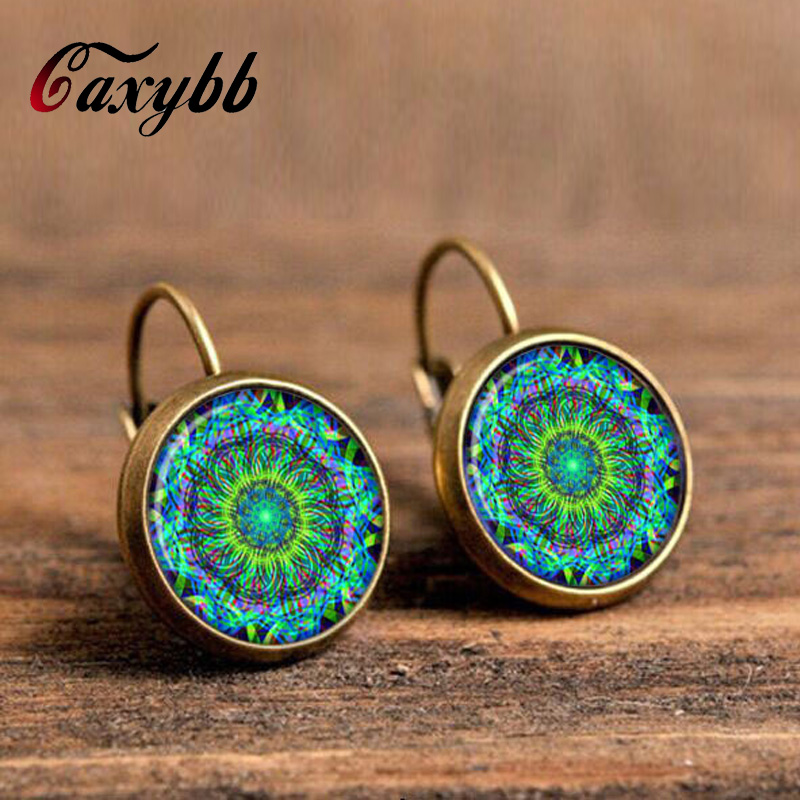 earrings jewelry for women om symbol buddhism,zen charm henna yoga earrings green mandala earring c-e185