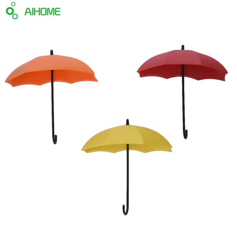 3Pcs/set Colorful Umbrella Wall Hook Key Hair Pin Holder Organizer Decorative Brand New Creative Home Storage Products