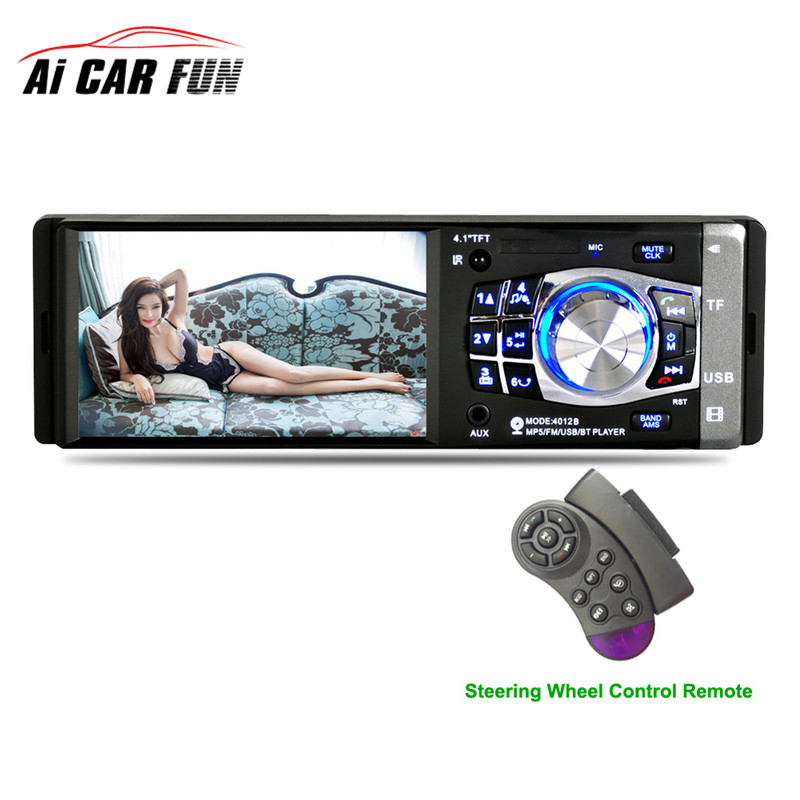 4012B 4.1 inch 1 Din Car Radio Auto Audio Stereo FM Bluetooth 2.0 Support Rear View Camera USB Steering Wheel Remote Control