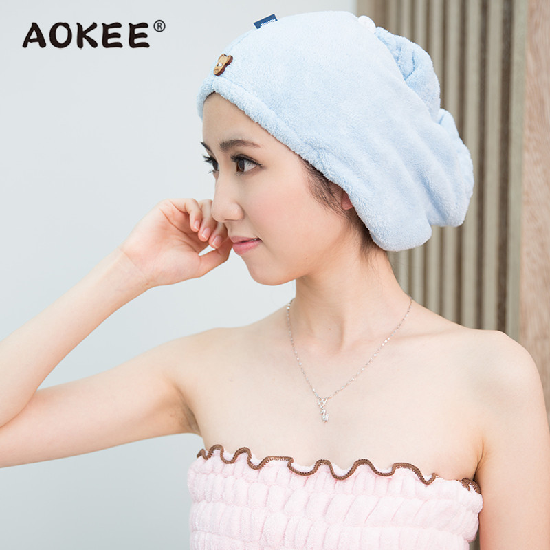 AOKEE Soft Microfiber Hair Towel Dry Cap Women Girls Magic Hair Drying Salon Towels Quick Dry Bath Hair Towel Hats Home Textile