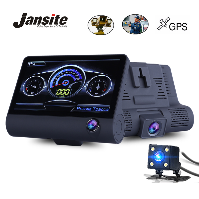 Jansite 4.0 araba DVR Radar Dedektörü Gps 3 1 Kamera Üç kamera Video dashcam Kamera Radar Hız Çift Lens 1080 P
