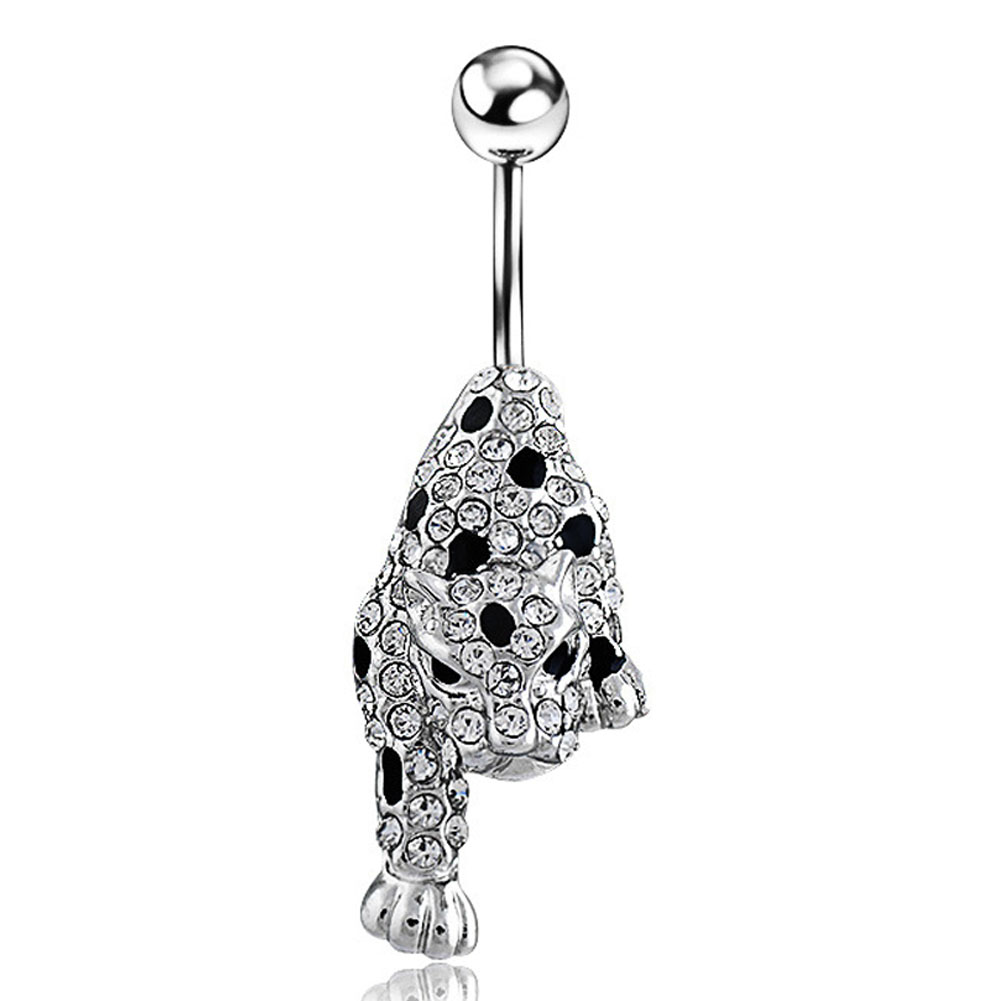 New Leopard Head Fashion Design Navel Belly Button Rings Steel Bars Piercing Body Jewelry KQS8
