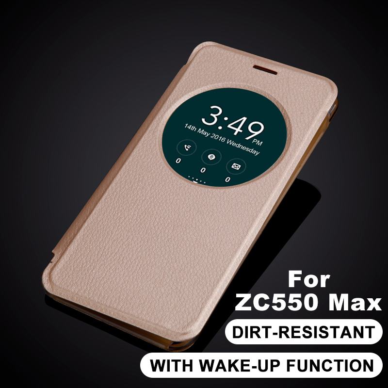 New arrival For ASUS ZC550KL ZenFone Max Fashion Ultra Slim Quick Smart Circle View Window Case Flip Leather Case