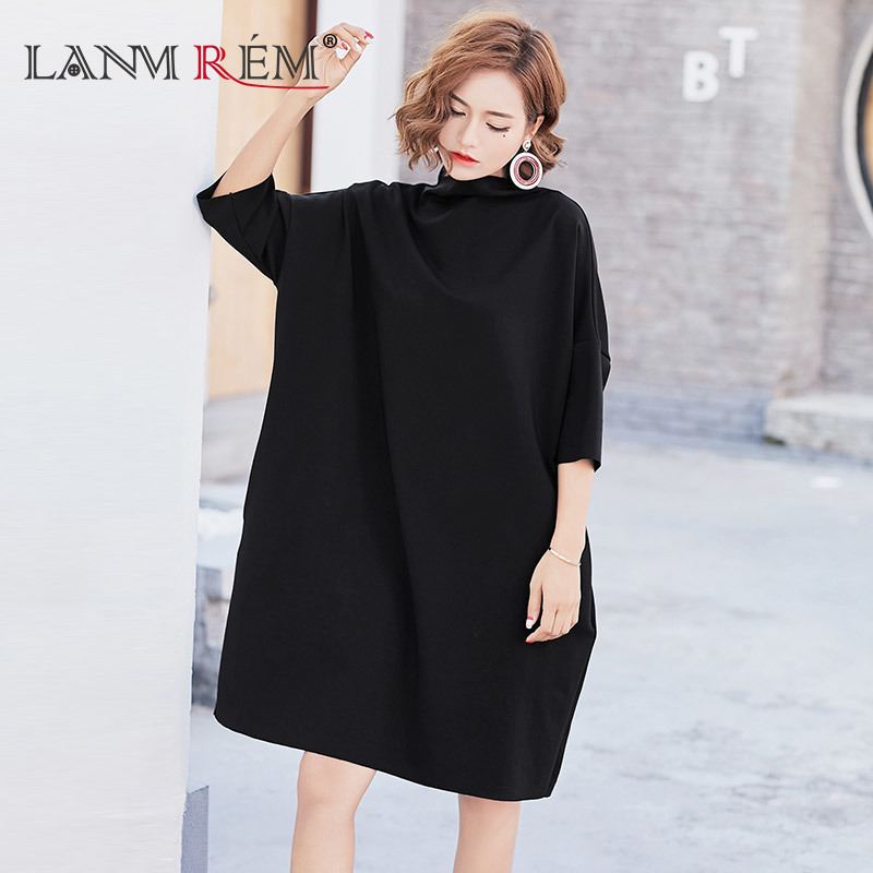 [GUTU] 2017 New Fashion Korean Autumn Dress Solid Color Batwing Sleeve Semi-high Collar Loose Large Size Casual Dress Women F981